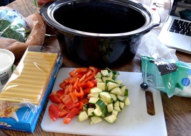 spinach lasagna in progress