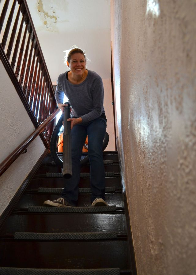 vacuuming the stairs