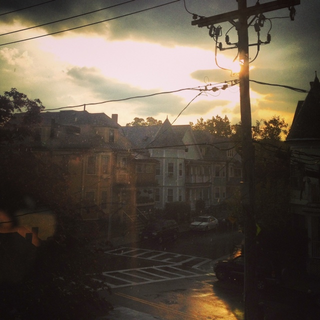 sun and rain and telephone pole